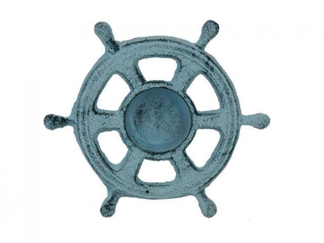 Dark Blue Whitewashed Cast Iron Ship Wheel Decorative Tealight Holder 5.5