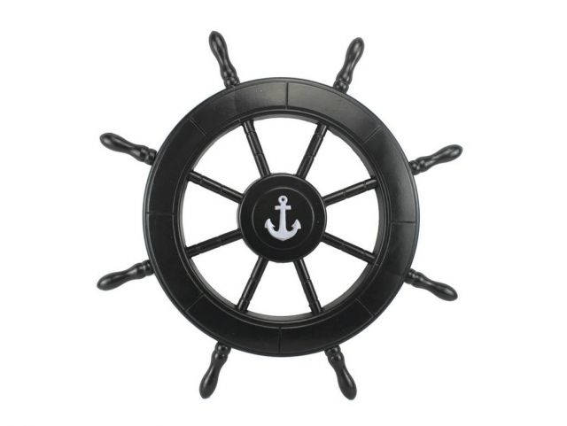 Black Pirate Decorative Ship Wheel With Anchor 24