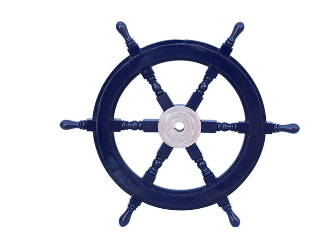 Deluxe Class Dark Blue Wood and Chrome Decorative Ship Steering Wheel 24