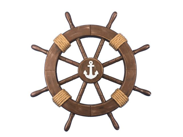 Rustic Wood Finish Decorative Ship Wheel with Anchor 18