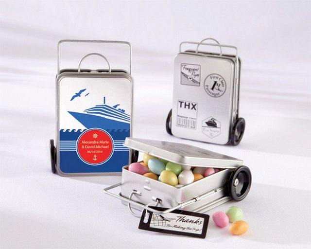 Set of 12 - Miles of Memories Suitcase Favor Tins