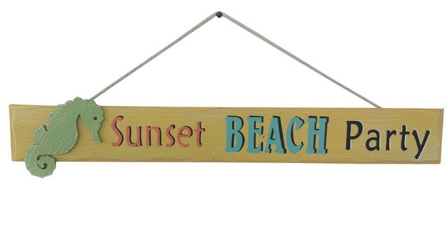 Wooden Sunset Beach Party Sign 24