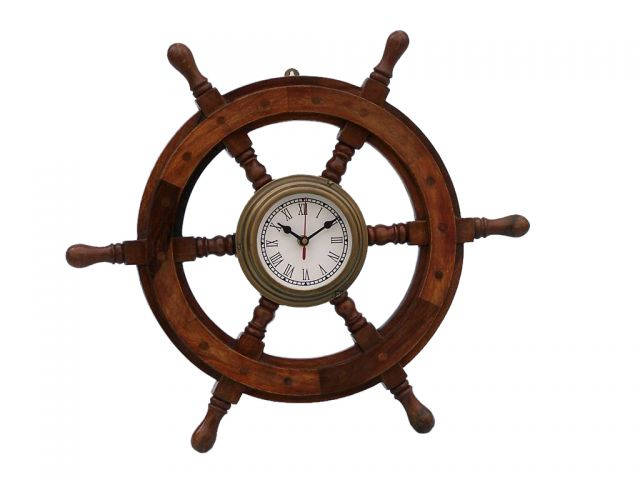 Deluxe Class Wood and Antique Brass Ship Steering Wheel Clock 12