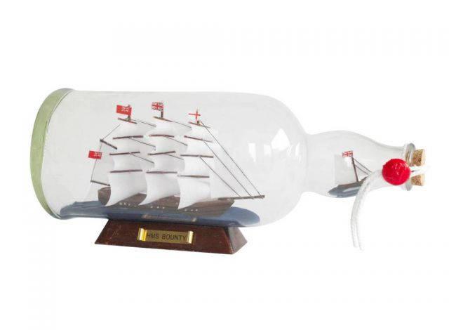 HMS Bounty Model Ship in a Glass Bottle 11
