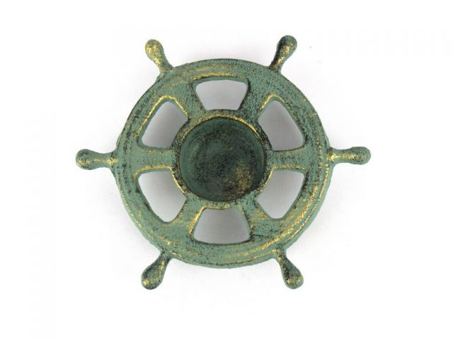 Antique Bronze Cast Iron Ship Wheel Decorative Tealight Holder 5.5