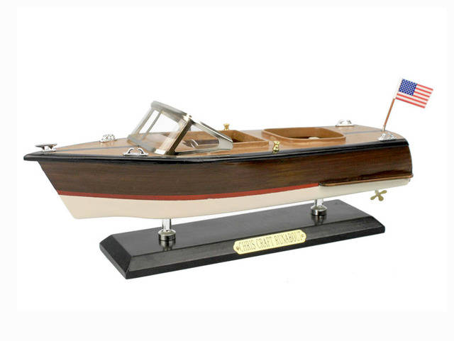 Wooden Chris Craft Runabout Model Speedboat 14