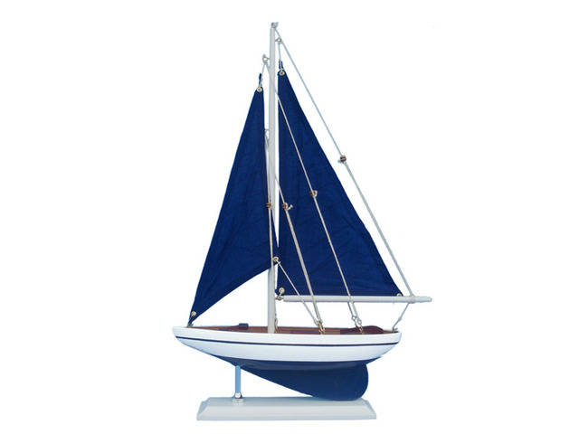 Wooden Blue Pacific Sailer with Blue Sails Model Sailboat Decoration 17