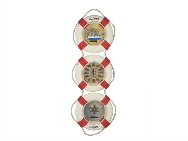 Red Triple Decorative Lifering Welcome Aboard Clock 25