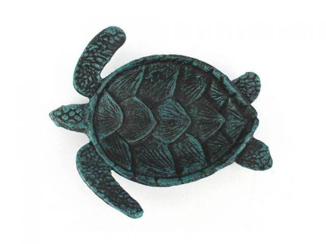 Seaworn Blue Cast Iron Sea Turtle Decorative Bowl 7