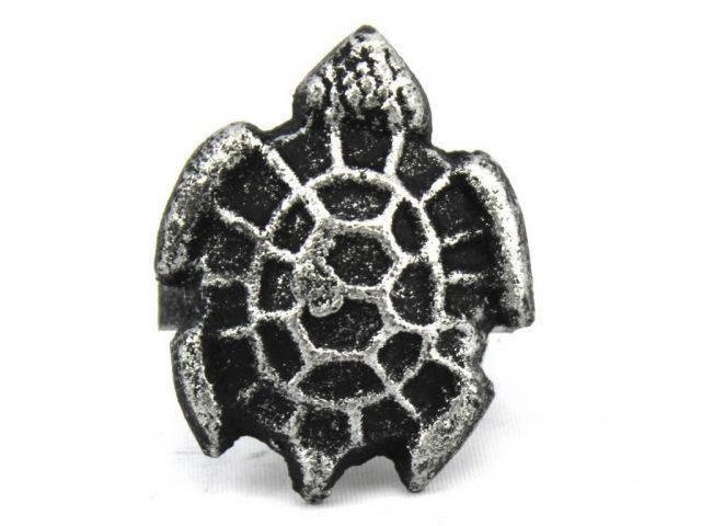 Antique Silver Cast Iron Turtle Decorative Napkin Ring 2 - set of 2
