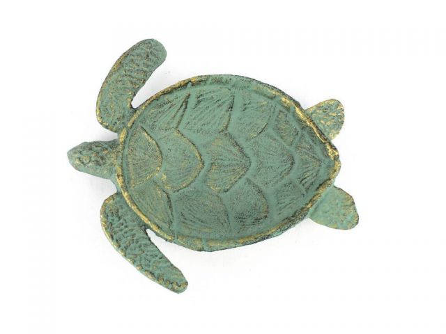 Antique Bronze Cast Iron Sea Turtle Decorative Bowl 7