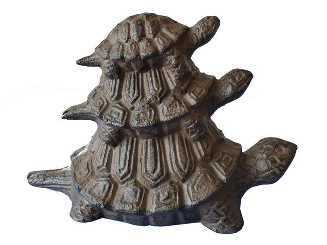 Rustic Cast Iron Turtle Family Doorstop 8