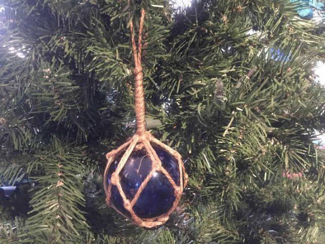 Blue Japanese Glass Ball Fishing Float Decoration Christmas Ornament 3