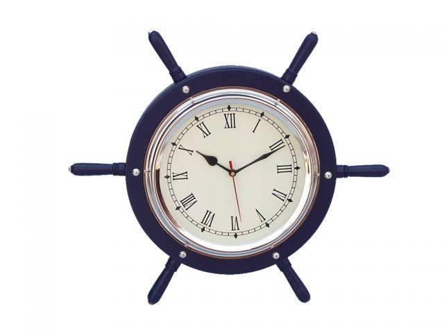 Dark Blue Wood And Chrome Ship Wheel Clock 15