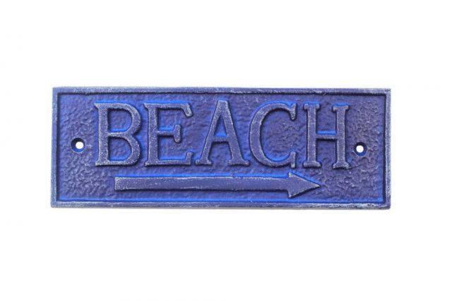 Rustic Dark Blue Cast Iron Beach Sign 9