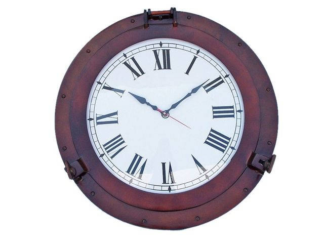 Antique Copper Deluxe Class Porthole Clock 20
