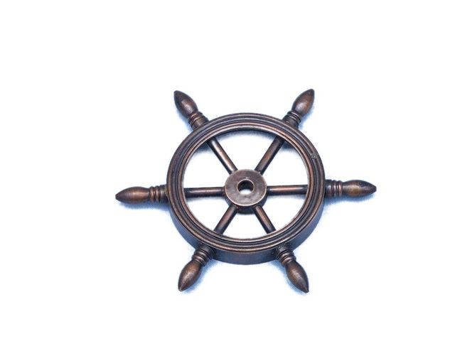Antique Copper Decorative Ship Wheel Paperweight 4