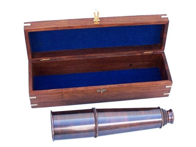Deluxe Class Hampton Collection Antique Copper Spyglass with Rosewood Box 36