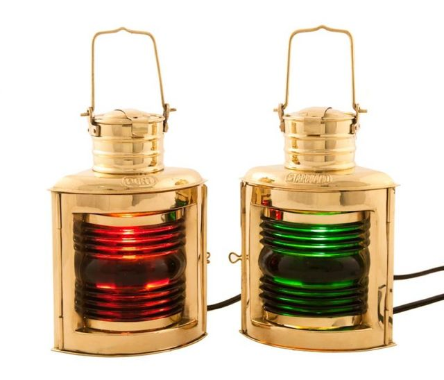 Brass Port and Starboard Electric Lantern 10