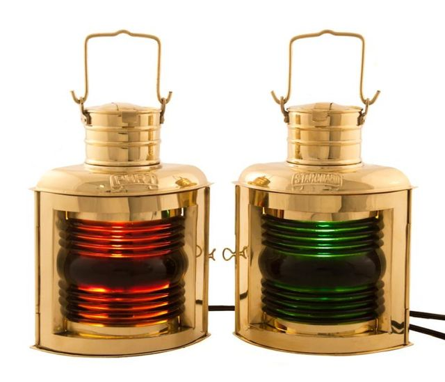 Brass Port and Starboard Electric Lantern 12