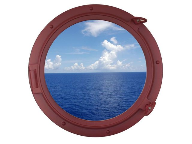 Dark Red Decorative Ship Porthole Window 24