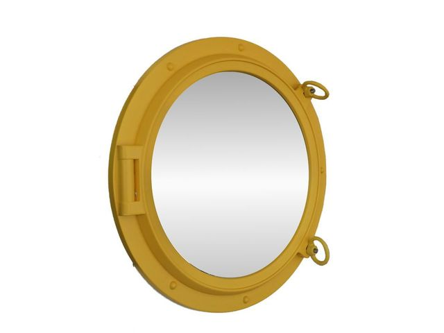Yellow Decorative Ship Porthole Mirror 24