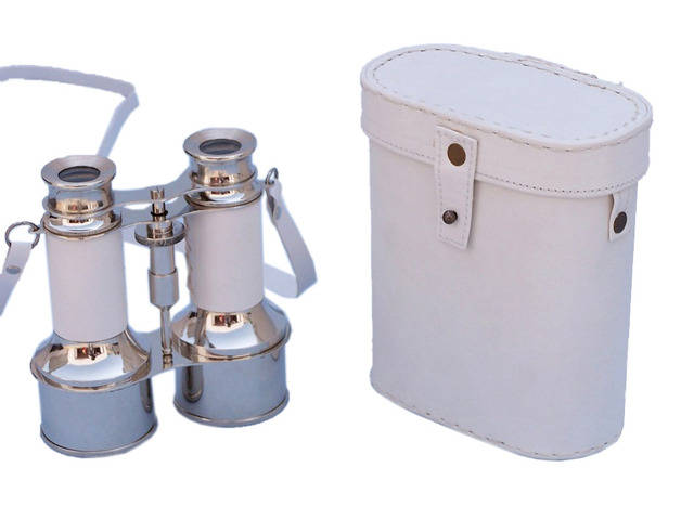 Commanders Chrome Binoculars with White Leather and White Leather Case 6