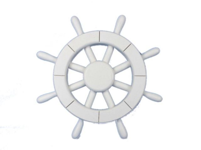 White Decorative Ship Wheel 12