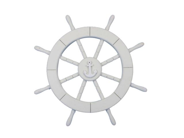 White Decorative Ship Wheel with Anchor 18
