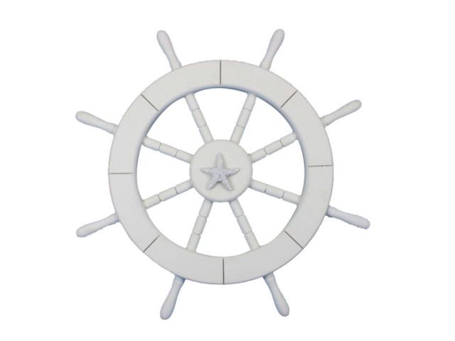 White Decorative Ship Wheel with Starfish 18