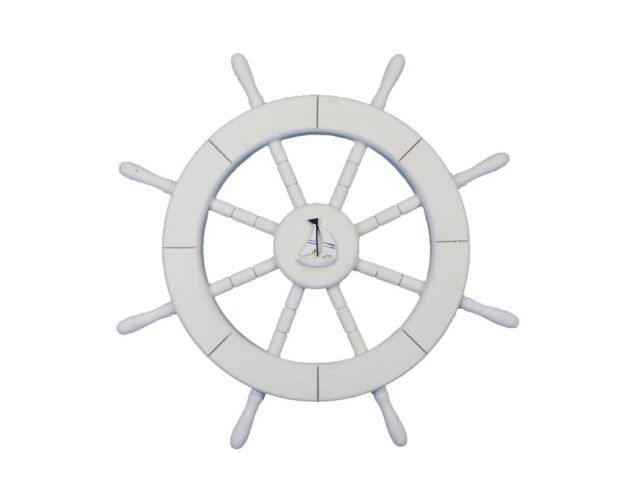 White Decorative Ship Wheel with Sailboat 18