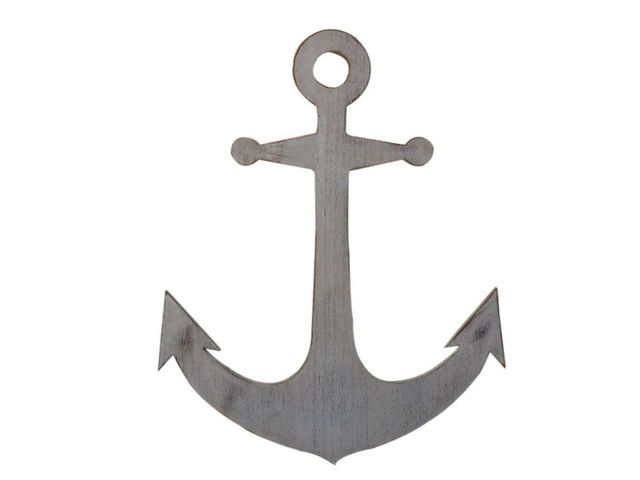 Wooden Rustic Whitewashed Wall Mounted Anchor Decoration 30