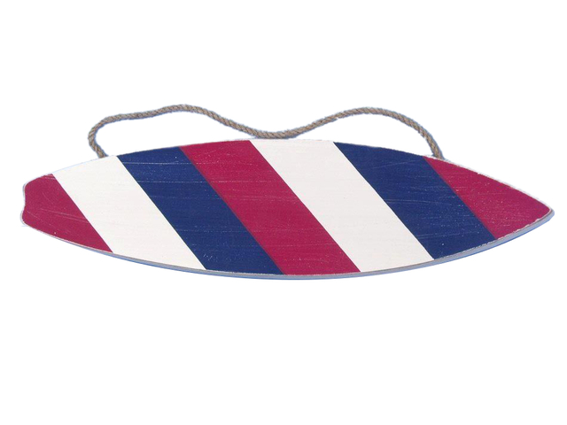 Wooden Red White and Blue Stripes Surfboard Sign 13