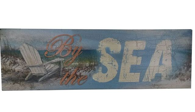 Wooden Rustic By the Sea Beach Sign 24