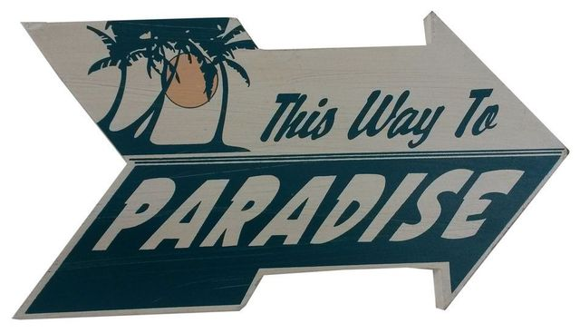 Wooden Arrow This Way to Paradise Beach Sign 10
