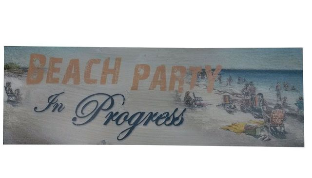 Wooden Rustic Beach Party in Progress Beach Sign 24