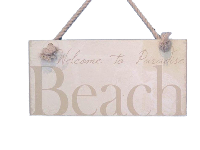 Wooden Welcome To Paradise Beach Sign 8