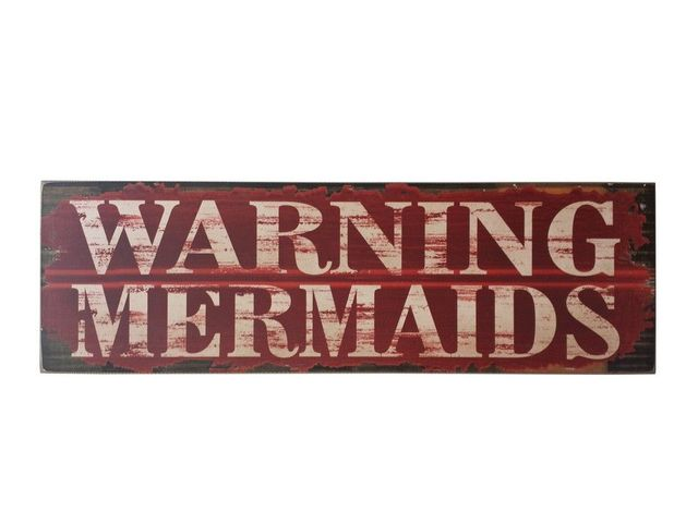 Wooden Warning Mermaids Beach Sign 32