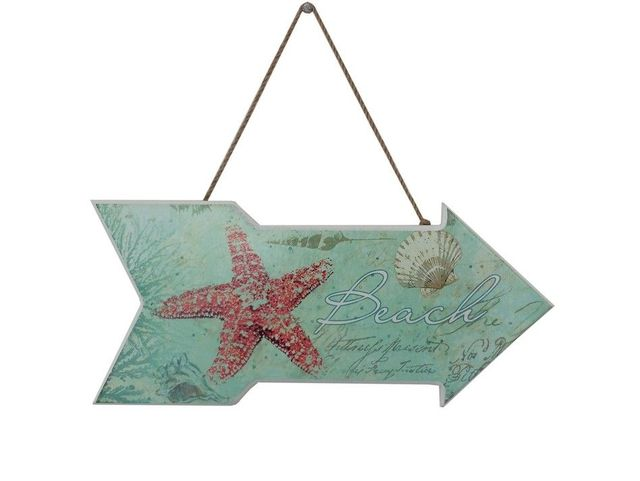 Wooden Beach Arrow with Starfish Beach Sign 14