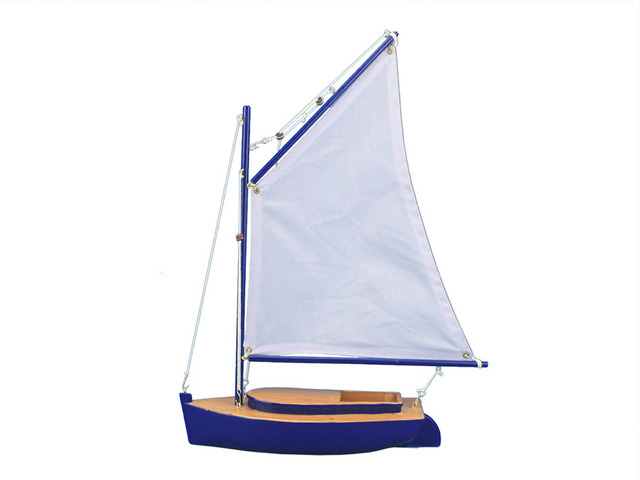 Wooden Barnegat Bay Cat Model Sailboat Decoration 15