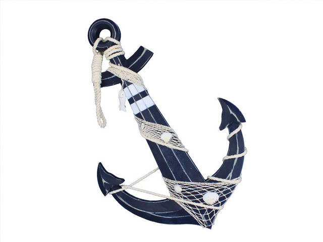 Wooden Rustic Blue Decorative Anchor w- Hook Rope and Shells 24