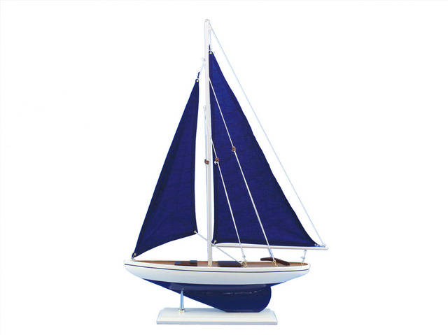 Wooden Blue Pacific Sailer With Blue Sails Model Sailboat Decoration 25.  Not A Kit Nice Look