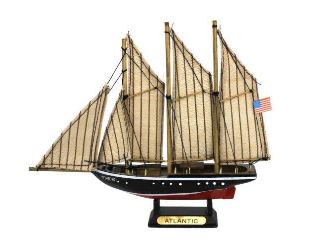 Wooden Atlantic Model Sailboat Decoration 7