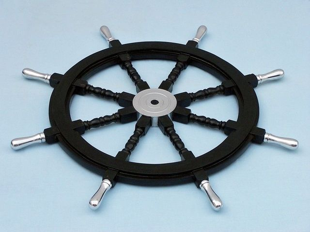 Wood and Chrome Black Pirate Ship Wheel 36 with Chrome Spokes