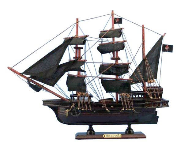 Wooden Ed Lowandapos;s Rose Pink Model Pirate Ship 20