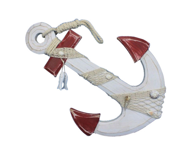Wooden Rustic Red-White Decorative Anchor w- Hook Rope and Shells 18