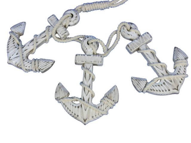 Wooden Rustic Whitewashed Decorative Triple Anchor Set 7