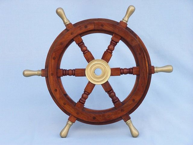 Wood and Brass Ship Wheel 18 with Brass Spokes