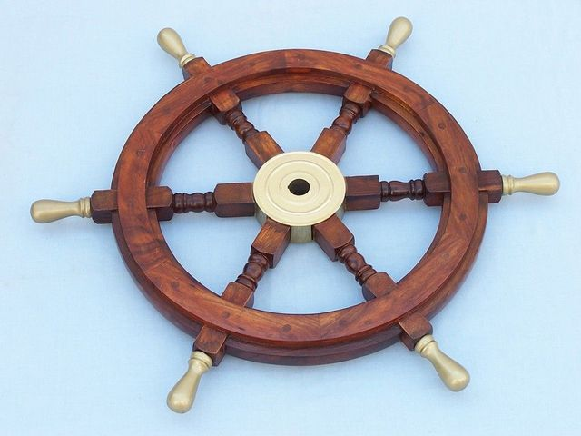 Wood and Brass Ship Wheel 24 with Brass Spokes