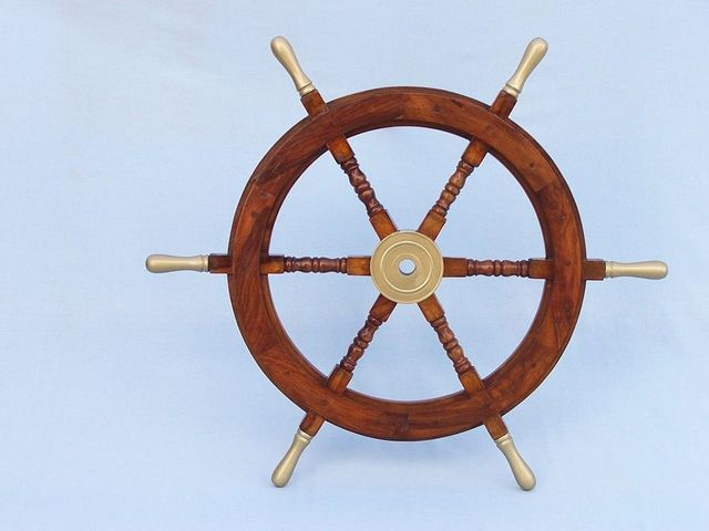 Wood and Brass Ship Wheel 30 with Brass Spokes